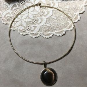 Vintage Jewelry - Vintage 90s Fashion Stone Cabochon Choker Necklace